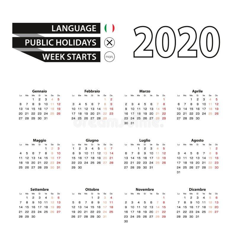 在意大利语,星期开始在星期一,日历2020年 皇族释放例证