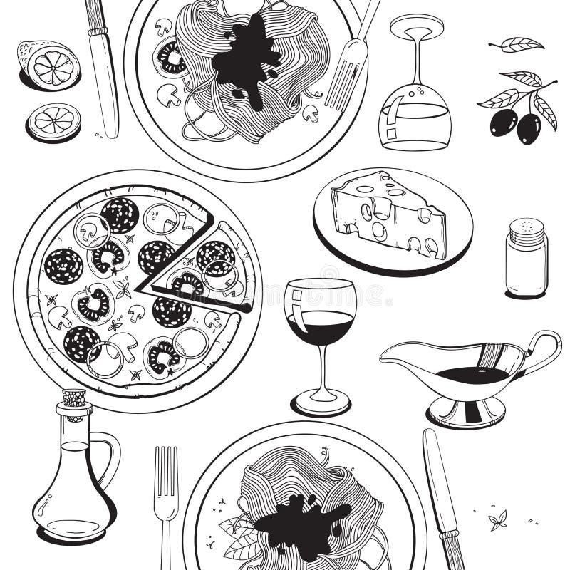 在意大利食物题材的对象:薄饼,面团,蕃茄, 库存例证