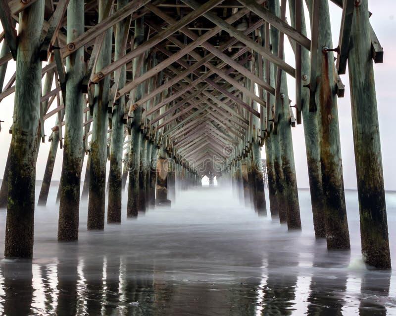 在愚蠢海滩码头下 免版税库存图片