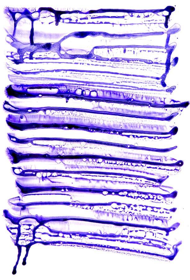 在憎水剂纸的抽象墨水样式 水彩紫色泡影纹理 海绵紫罗兰例证 免版税库存照片