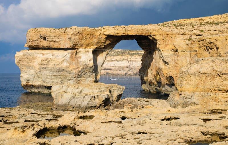 在戈佐岛海岛上的天蓝色的窗口马耳他  库存照片