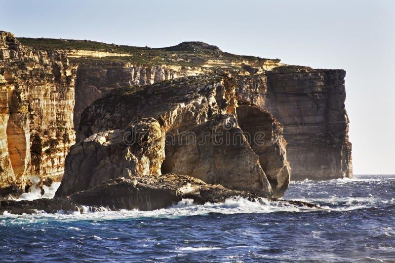 在戈佐岛海岛上的真菌岩石 Dwejra海湾 马耳他 库存图片