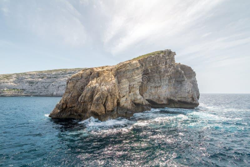 在戈佐岛海岛,马耳他上的真菌岩石 免版税库存照片