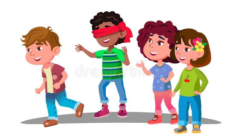 在戏剧传染媒介期间,设法蒙住眼睛的小男孩捉住其他孩子 按钮查出的现有量例证推进s启动妇女 库存例证