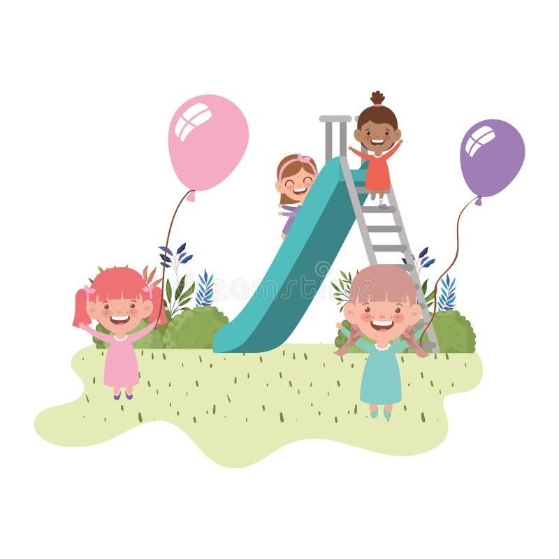 在戏剧公园与幻灯片和氦气气球的结合婴孩 皇族释放例证
