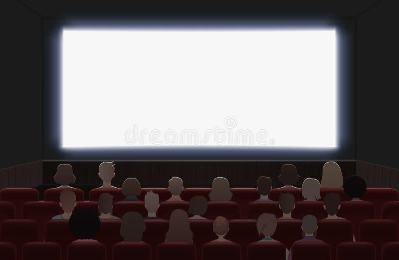 在戏院大厅内部传染媒介例证的人电影 回到视图 向量例证
