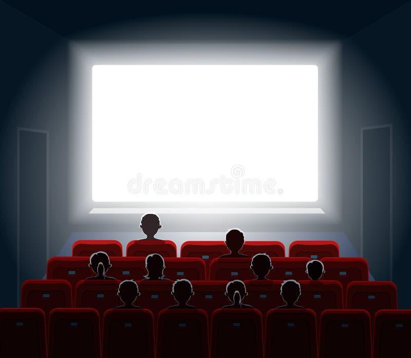 在戏院大厅的人观看的电影 影片屏幕 向量例证