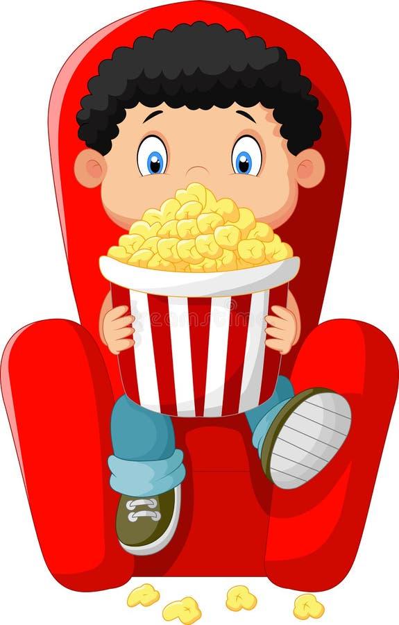 在戏院的动画片男孩观看的电影 向量例证