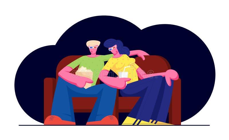 在戏院的年轻爱恋的夫妇手表电影用玉米花和饮料 在3d玻璃的字符坐长沙发 库存例证