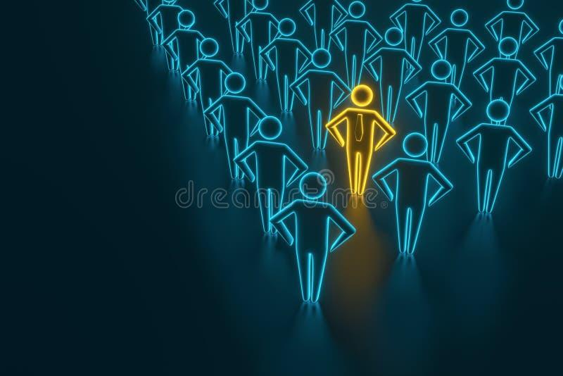 在成功的董事前面队的领导  站立的一位了不起的领导带领的成功的董事队  皇族释放例证
