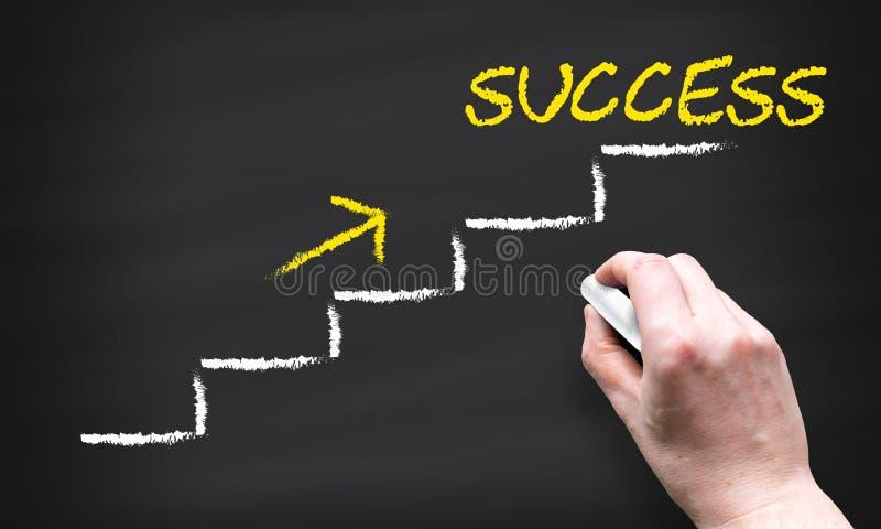 在成功,发展企业概念成长和道路上面的楼梯向成功 向量例证