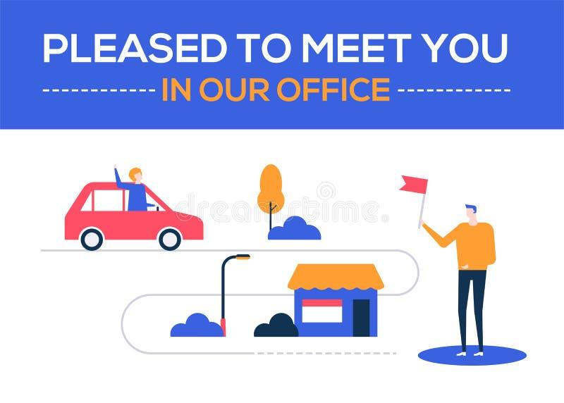 在我们的办公室喜欢遇见您-平的设计样式五颜六色的例证 皇族释放例证