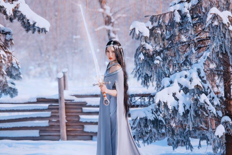 在戒备,善恶,壮观的勇敢的女孩战斗的保护者有黑暗的长发的在灰色温暖的斗篷与 免版税库存图片