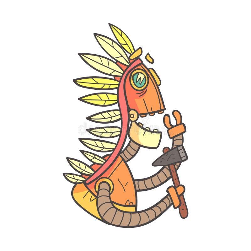 在战争帽子的印地安橙色机器人与印第安战斧动画片被概述的例证激动逗人喜爱机器人和他的 向量例证