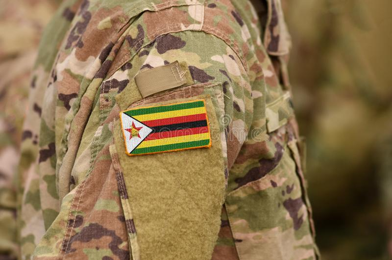 在战士的津巴布韦旗子武装 津巴布韦军队拼贴画 免版税库存照片