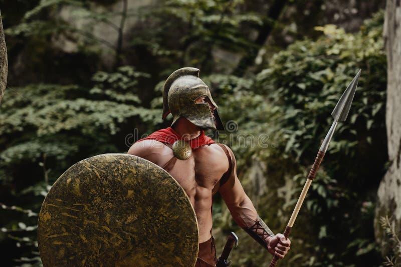 在战士装甲的男性模型 免版税库存图片