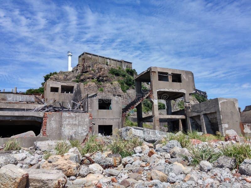 在战舰海岛, Hashima的残破的大厦 免版税图库摄影