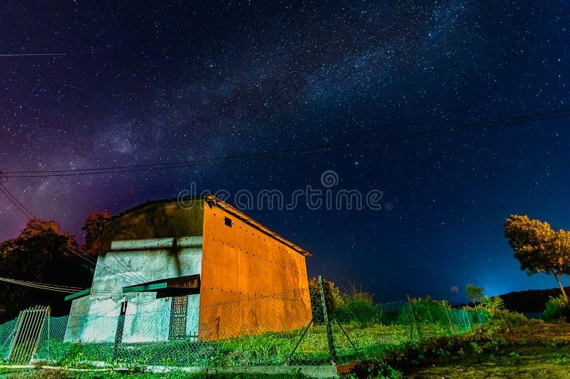 在房子上的银河 免版税图库摄影