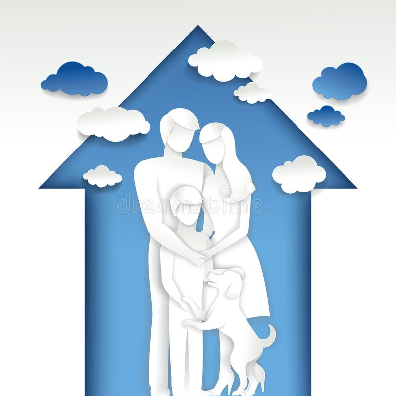 在房子传染媒介例证的愉快的家庭 库存例证