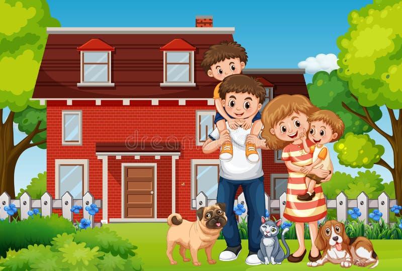 在房子前面的家庭 向量例证