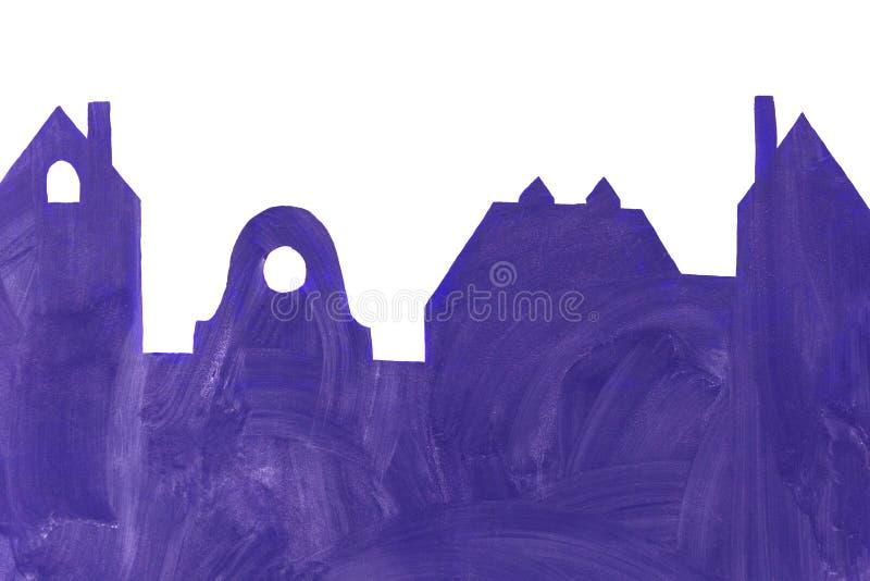 在房子和大厦形状的一个黑板反对白色w 免版税库存图片