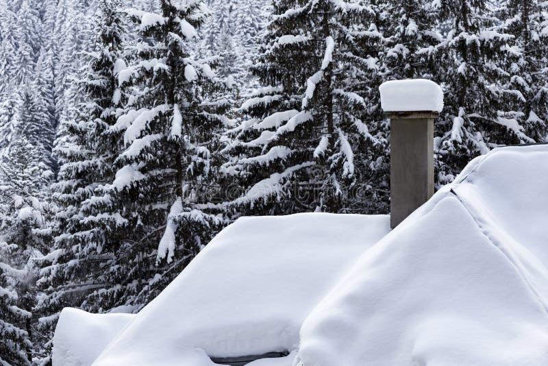 在房子和烟囱屋顶上面的白色雪盖  库存照片