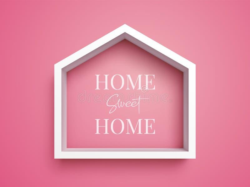 在房子形状的白色框架桃红色背景的与题字家庭甜家 皇族释放例证