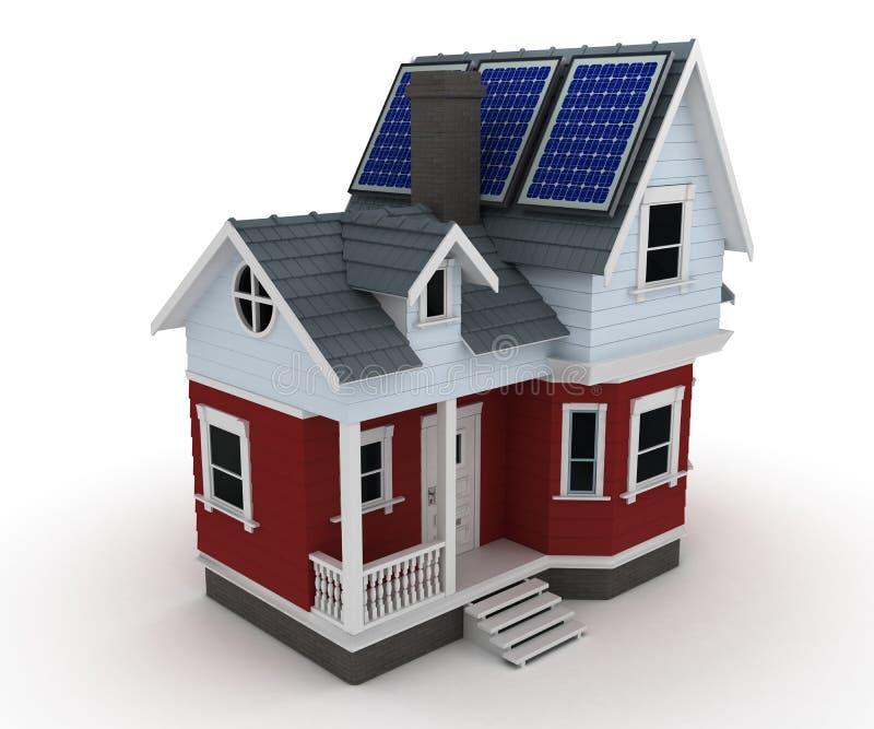 在房子的太阳电池板 皇族释放例证
