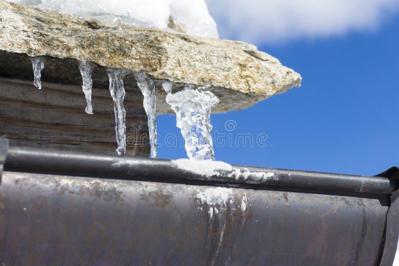 图片 包括有 滴水, 房子, 下落, 冬天, 屋顶, 冻结, 冰柱, 天沟