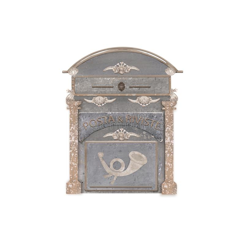 在房子的白色墙壁上的老葡萄酒金属邮箱 在白色背景的意大利岗位减速火箭的样式水彩刷子 库存例证