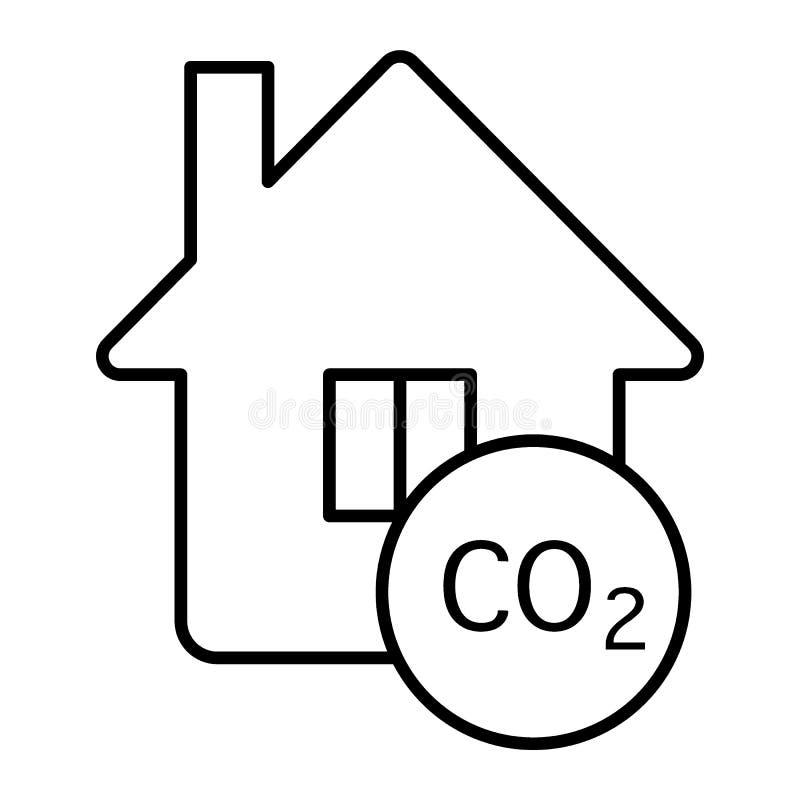 在房子稀薄的线象的污染 r 有二氧化碳概述样式的家 皇族释放例证