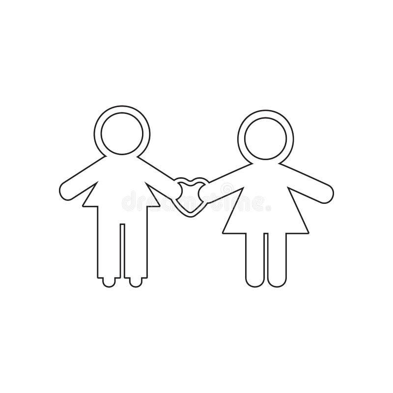 在房子象的爱的家庭 华伦泰\'s天的元素,婚姻为流动概念和网应用程序象 概述,稀薄的线ico 库存例证