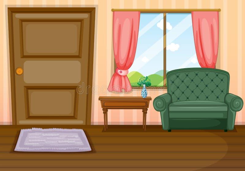 在房子里面的家具 向量例证