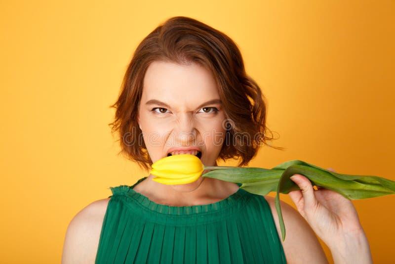 在手中咬住黄色郁金香的妇女画象 免版税库存照片