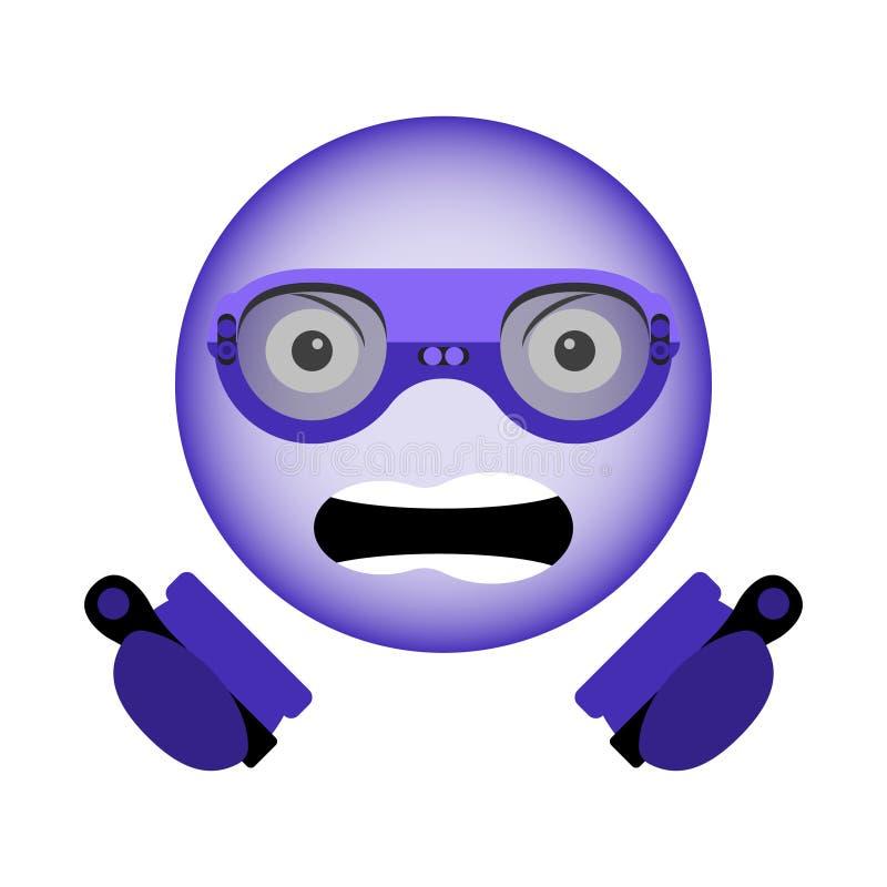 在手中导航邪恶的面带笑容的图象在虚拟现实玻璃的与控制器的新一代在紫外颜色 库存例证
