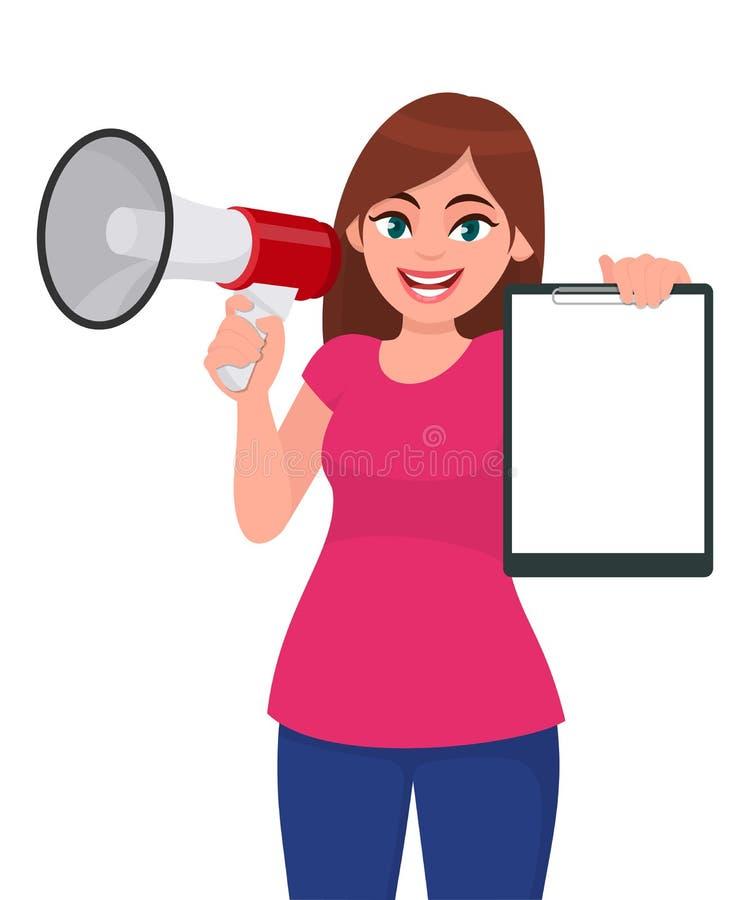 在手中拿着扩音机或扩音器的年轻女人 举行空白的剪贴板、文件、文件或者报告的女孩 女性角色 皇族释放例证