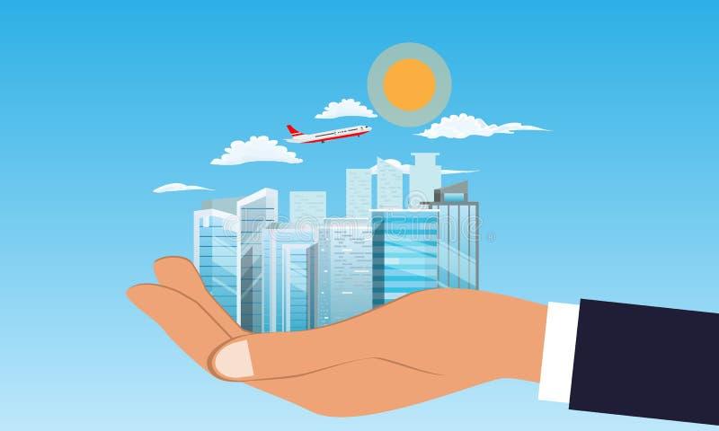 在手中拿着都市风景或大厦的商人 云彩和平面飞行在背景中 r 向量例证