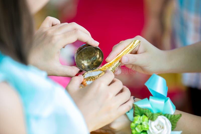 在手中接近的巧克力精炼机壳,婚姻泰国文化婚礼的辅助部件与迷离新郎和新娘背景的 库存照片