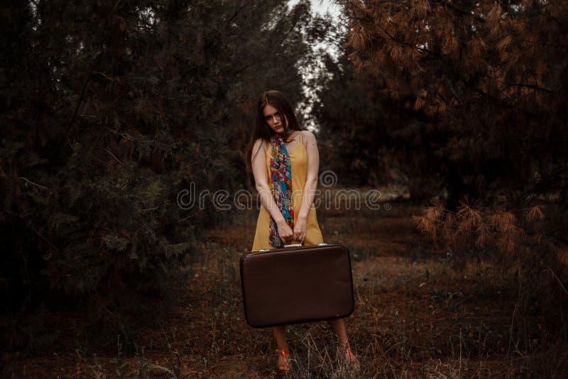 在手中摆在带着一个减速火箭的手提箱的一条泥泞的乡下公路的一件黄色葡萄酒礼服的年轻美女 库存图片