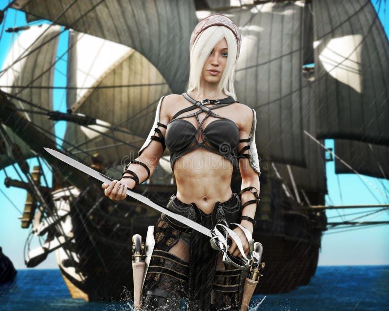 在手中来岸上与剑和海盗船的一位白肤金发的海盗女性的画象在背景中 轻微的大气雨 皇族释放例证