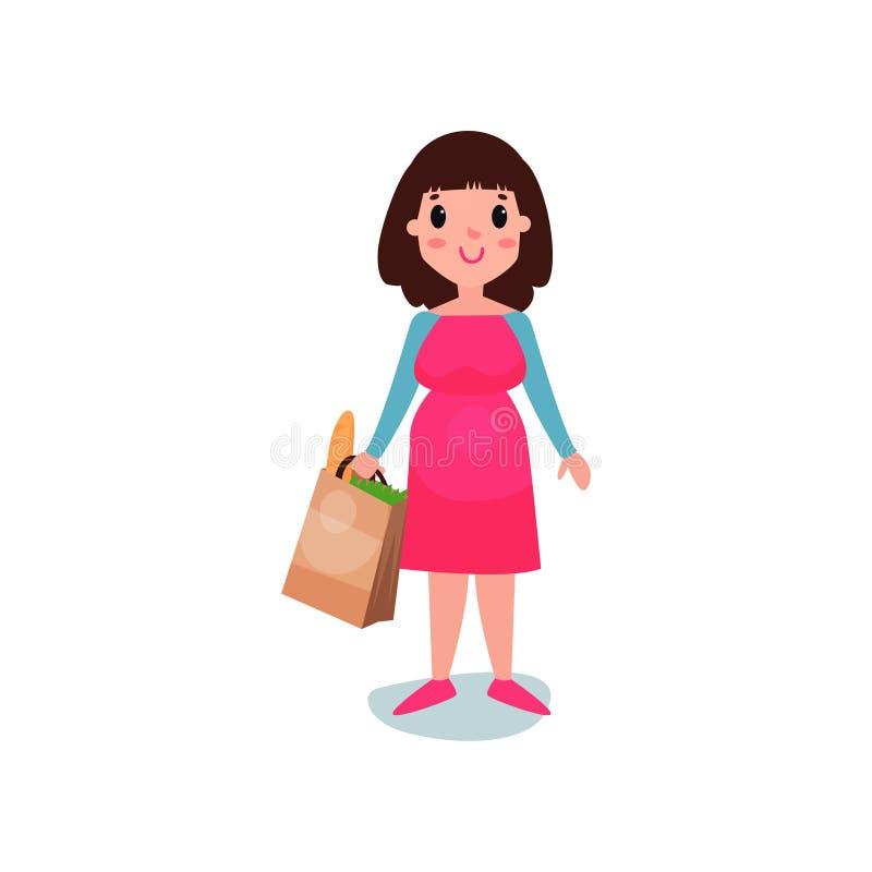 在手中站立与纸袋的孕妇字符用食物 美丽的妊妇 库存例证