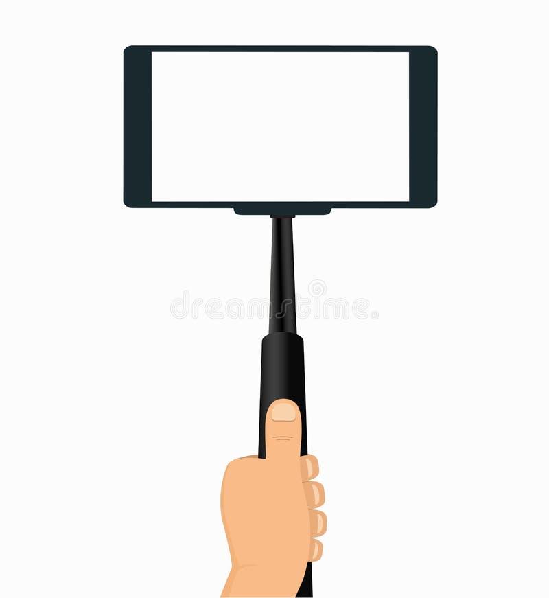 在手中采取在一个手机的Monopod Selfie 向量例证