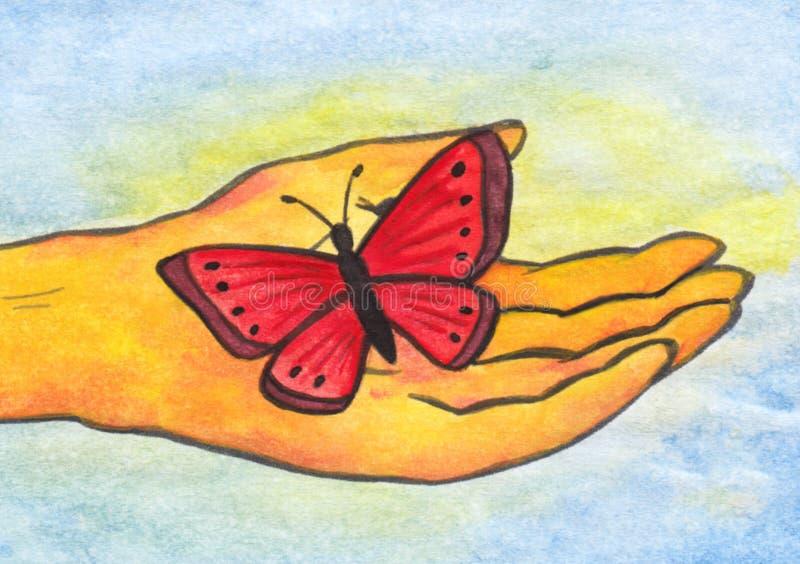 在手中Reiki蝴蝶(2008) 库存照片