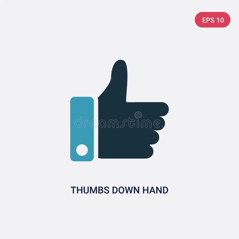 在手传染媒介象下的两种颜色的拇指从标志概念 在手传染媒介标志标志下的被隔绝的蓝色拇指可以是网的用途, 库存例证