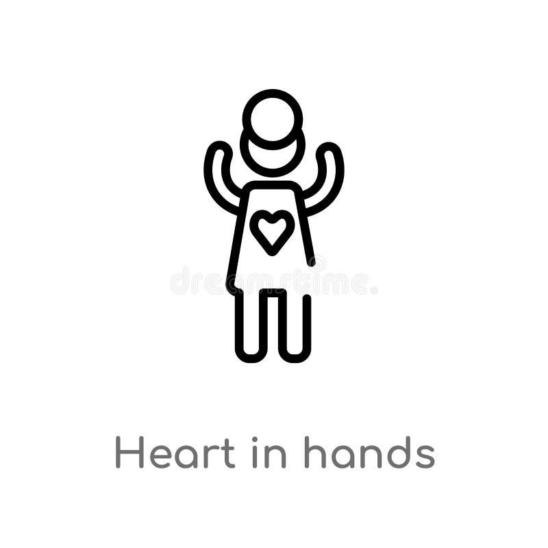 在手传染媒介象的概述心脏 被隔绝的黑简单的从人概念的线元例证 编辑可能的传染媒介冲程 皇族释放例证