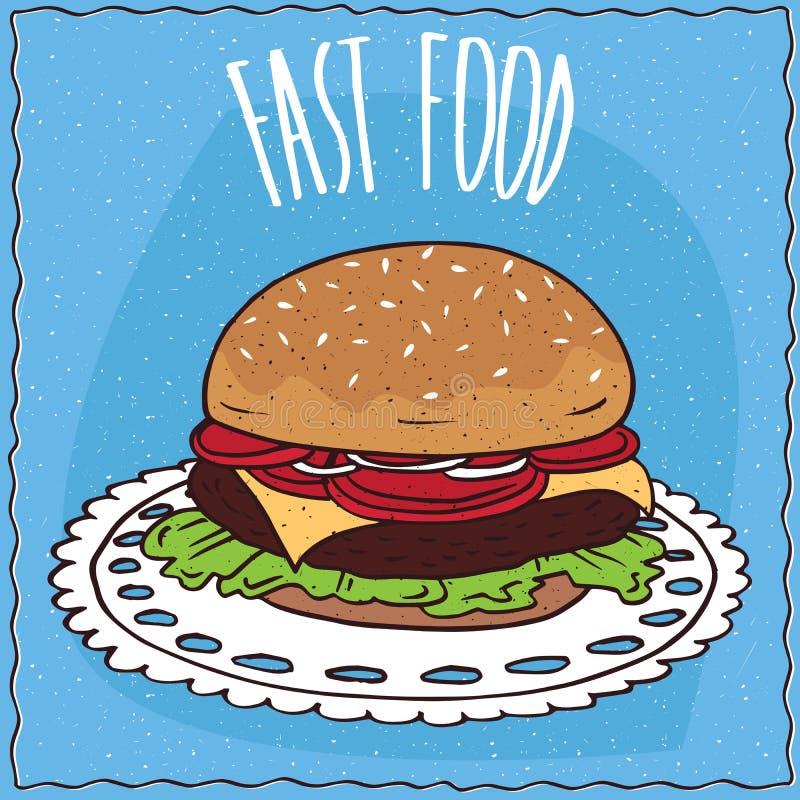 在手工制造动画片样式的经典牛排汉堡 向量例证