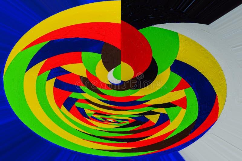 在手拉的丙烯酸酯的街道画,纹理的依据做的抽象绘画 扭转,转动的多色线 图库摄影