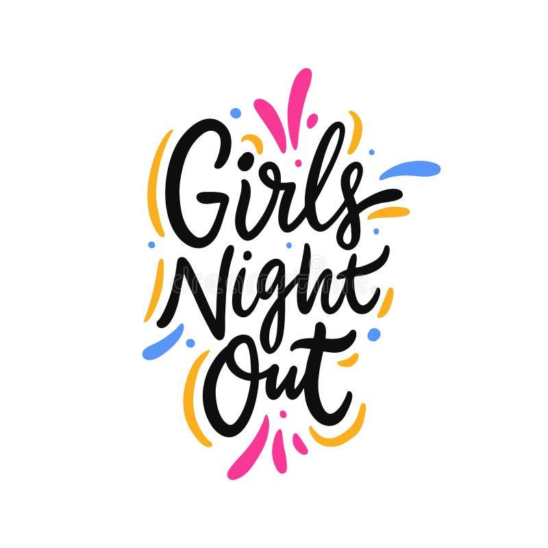 在手拉的传染媒介字法之外的女孩夜 r 库存图片