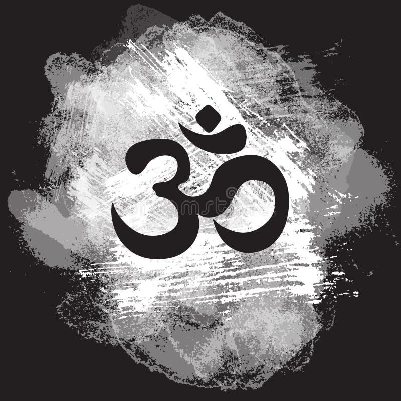 在手拉的农庄背景,印地安人屠妖节精神标志Om的黑欧姆标志 印刷品,纹身花刺,瑜伽,灵性,纺织品 皇族释放例证