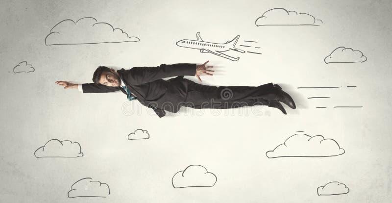 在手拉的天空之间的快乐的企业人飞行覆盖 向量例证